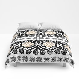 Black white faux gold glitter hand painted floral aztec Comforters