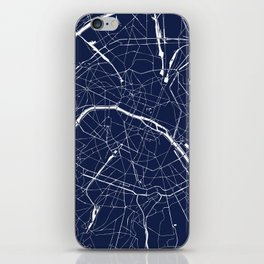 Paris France Minimal Street Map - Navy Blue and White Reverse iPhone Skin