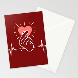 K-Pop Heartbeat Finger Heart Stationery Cards