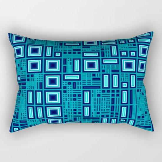 Blue digital geometric abstraction Rectangular Pillow
