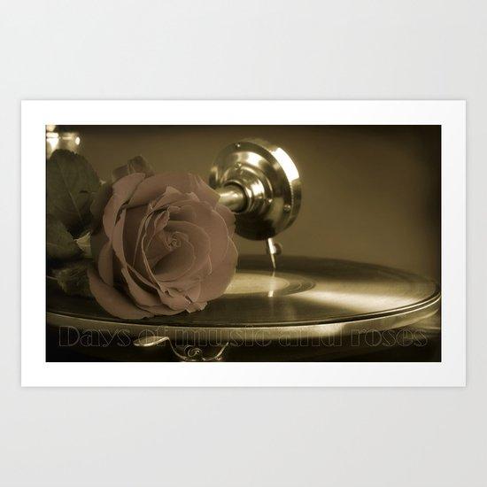 Music and roses. Art Print