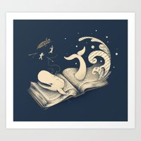 moby dick Art Prints featuring Moby Dick by Enkel Dika