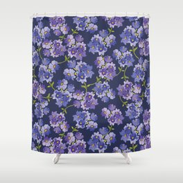 Purple Watercolour Blossom All Over Pattern Shower Curtain
