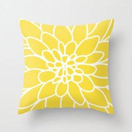 Modern Yellow Dahlia Flower Throw Pillow