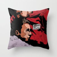 tyler durden Throw Pillows featuring Hello I'm Bob/ fight club/ tyler durden by Bearded Bastard