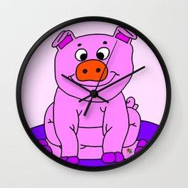 Wide-eyed Piggy Wall Clock