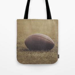 Football Resting in Grassy Turf Aged Effect Tote Bag