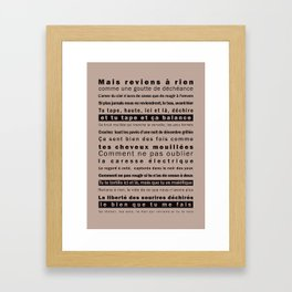 """""""Reviens"""" - Franklin Gothic Typo poster poetic Framed Art Print"""