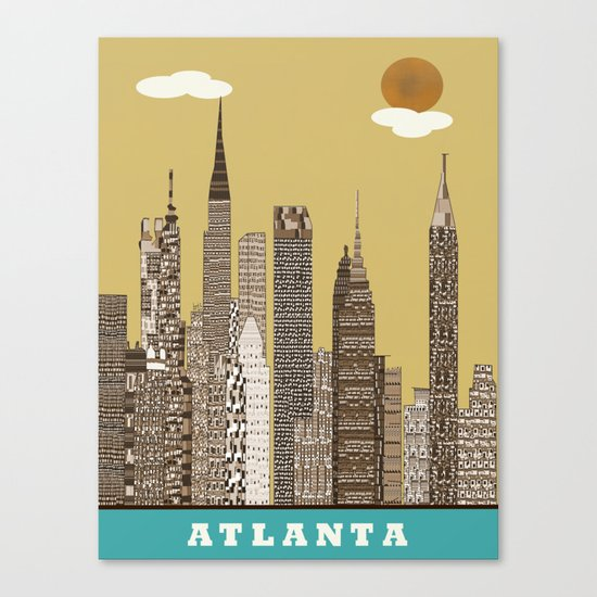 Atlanta city vintage Canvas Print