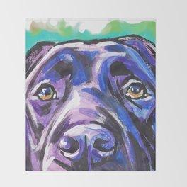 black Labrador Retriever Dog Pop Art by Lea Throw Blanket
