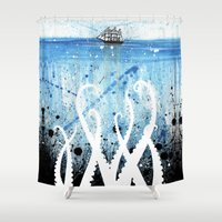 kraken Shower Curtains featuring Kraken Watercolor by Beth Naeyaert