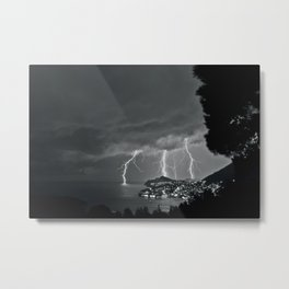 Lighting Storm on the coast, Adriatic Ocean black and white photograph Metal Print
