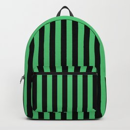 Emerald Green and Black Vertical Stripes Backpack