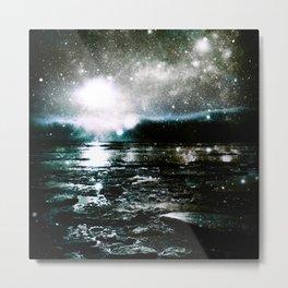 Mystic Waters Teal Slate Gray Metal Print