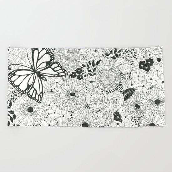 Monarch garden Beach Towel