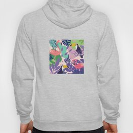 Tropical Jungle With Flamingos And Toucans Memphis Style Hoody