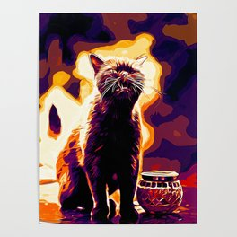 british shorthair cat ready to attack vector art late sunset Poster