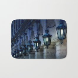 Arches and Lamps in Greece Night Bath Mat