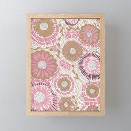 Pink & Gold Flowers Framed Mini Art Print