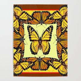ORIGINAL DESIGN  ABSTRACT OF YELLOW & ORANGE MONARCH BUTTERFLIES BROWN ART Poster