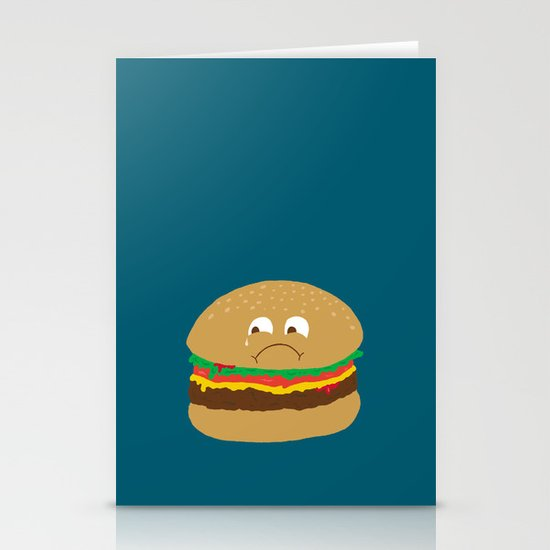 Sad Hamburger Stationery Cards