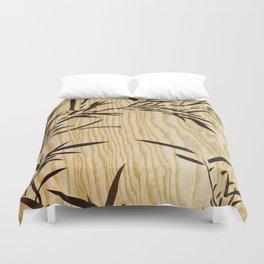 Japanese bamboo buddha wood art Duvet Cover