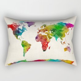 Watercolor Map of the World Map Rectangular Pillow