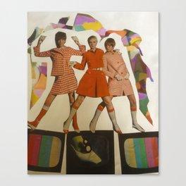 Retro Rainbow. Mod Girls on Vintage TVs Print from Collage Canvas Print