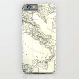 Vintage Map - Spruner-Menke Handatlas (1880) - 21 Italy at the time of the Longobard Empire iPhone Case