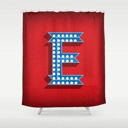 Letter E Initial Cap Shower Curtain