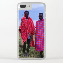 Two Maasai Teens Tending to Cattle in Africa Clear iPhone Case
