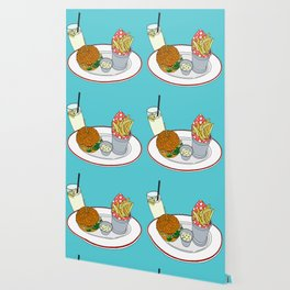 Burger, Chips and Lemonade Wallpaper