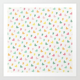 Cute and Colorful Whimsical Butterflies Pattern Art Print