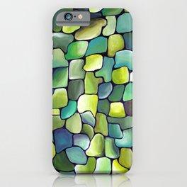 Sublime Watercolor Artwork with Artdeco Green Contemporary Tiles iPhone Case