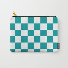 Blue, Teal: Checkered Pattern Carry-All Pouch