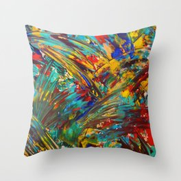 FIREWORKS IN COLOR - Bold Abstract Acrylic Painting Lovely Masculine Colorful Splash Pattern Gift Throw Pillow