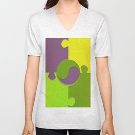 puzzle yin yang Unisex V-Neck