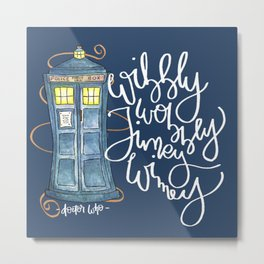 Wibbly Blue Metal Print