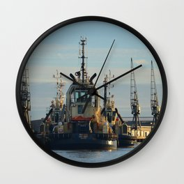 Tug Boat In The Evening Light Wall Clock