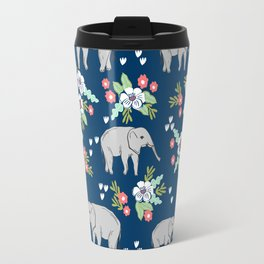 Elephants pattern navy blue with florals cute nursery baby animals lucky gifts Travel Mug