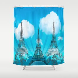 Tri Eiffel Tower with Tennis Figures Shower Curtain