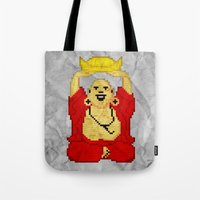 8bit Tote Bags featuring Buddha (8bit) by Grizzly Logo