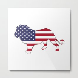 "Lion ""American Flag"" Metal Print"