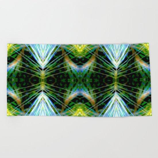 Blue Green Bright Rays,Fractal Art Beach Towel