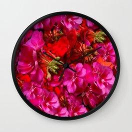 Fuchsia & Red Geraniums Floral Garden Art Wall Clock