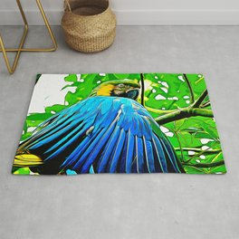 blue yellow breasted macaw parrot bird vector art Rug