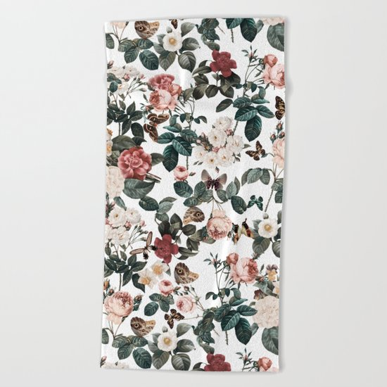Floral and Butterflies II Beach Towel