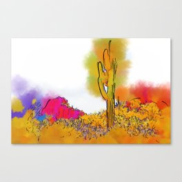 Desert Saguaro In Subtle Abstract Canvas Print