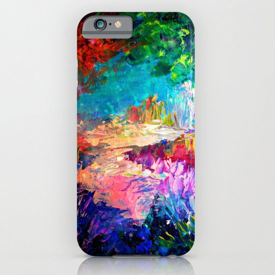 WELCOME TO UTOPIA Bold Rainbow Multicolor Abstract Painting Forest Nature Whimsical Fantasy Fine Art iPhone & iPod Case