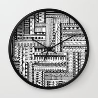 tribal Wall Clocks featuring Tribal  by Ale Ibanez